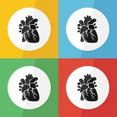������, ������: Heart icon flat design on different color background