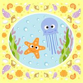 stock photo of jellyfish  - Sea background card with jellyfish and starfish - JPG