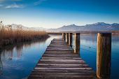 pic of jetties  - Early morning at a jetty at lake Chiemsee - JPG