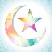 picture of crescent  - Shiny colorful crescent moon with star on floral design decorated sky blue and white backgroud for Islamic holy festival - JPG