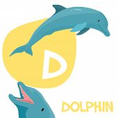 picture of letter d  - Funny cartoon animals vector alphabet letter for kids from A to Z - JPG
