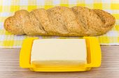 picture of buckwheat  - Loaf of fresh buckwheat bread on napkin and butter - JPG