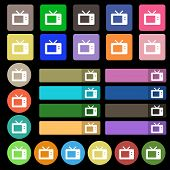 stock photo of tv sets  - Retro TV mode icon sign - JPG