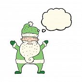stock photo of ugly  - cartoon ugly santa claus with thought bubble - JPG