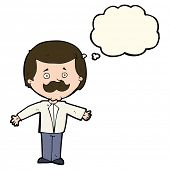picture of mustache  - cartoon mustache man with open arms with thought bubble - JPG