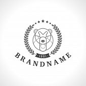 Vintage bear face Line art logotype emblem symbol. Can be used for labels, badges, stickers, logos v poster
