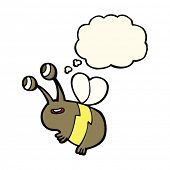 picture of bee cartoon  - cartoon happy bee with thought bubble - JPG
