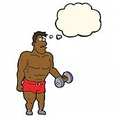 foto of weight lifter  - cartoon man lifting weights with thought bubble - JPG