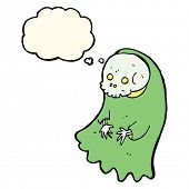 image of ghoul  - cartoon spooky ghoul with thought bubble - JPG