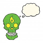 stock photo of mystical  - cartoon mystic skull with thought bubble - JPG