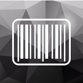 picture of barcode  - White barcode icon on black polygonal background - JPG