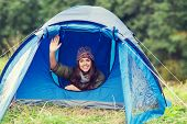 stock photo of waving hands  - camping - JPG