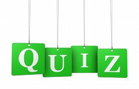 foto of quiz  - Quiz word and sign on green hanged label tags isolated on white background - JPG
