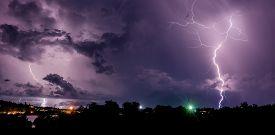image of lightning-rod  - Beautiful thunderstorm with lightning bolts on the Thai island of Koh Samui - JPG