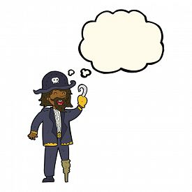 stock photo of peg-leg  - cartoon pirate captain with thought bubble - JPG