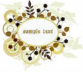 picture of floral design  - Floral grunge banner with leaves and circles  - JPG