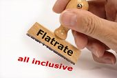 stock photo of all-inclusive  - rubber stamp marked with Flatrate and copy all inclusive - JPG