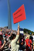 SAINT LOUIS, MISSOURI - SEPTEMBER 12: Woman holding sign at rally of the Tea Party Patriots in Downt