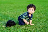 cute baby boy playing with little black chow puppy poster