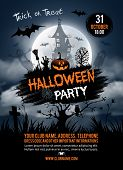 Halloween vertical background with pumpkin, haunted house and full moon. Flyer or invitation templat poster