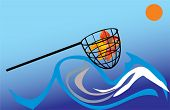 picture of catching fish  - illustration with gold fish in net - JPG
