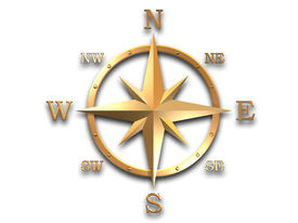 picture of wind-rose  - 3d generated wind rose in gold metal with soft shadow and clipping path - JPG