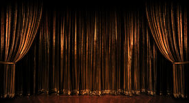 pic of curtains stage  - Stage golden curtains over wooden floor - JPG