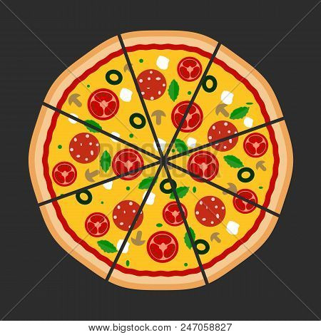 Pizza Flat Icons Isolated On