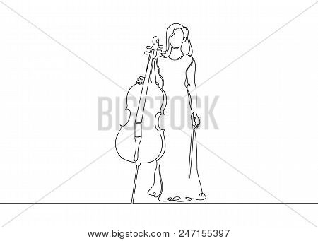 poster of A Continuous Single Drawn Single Line Of A Musician Is Played By A Cellist Woman.