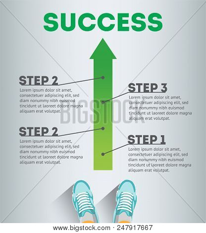poster of Success. Business Infographic Template. Business Concept. Infographic Success. Steps Of Success. Ste