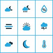 Climate Icons Colored Set With Snowfall, Moon, Cloudy Sky And Other Humidity Elements. Isolated Vect poster