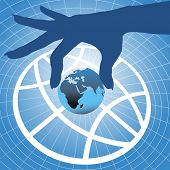 foto of eastern hemisphere  - Person hand holding up planet Eastern hemisphere over globe symbol and grid background - JPG
