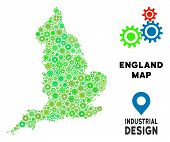 Gear England Map Collage Of Small Wheels. Abstract Territorial Scheme In Green Color Tinges. Vector  poster