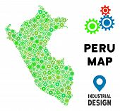 Gear Peru Map Mosaic Of Small Gearwheels. Abstract Territory Plan In Green Color Tints. Vector Peru  poster