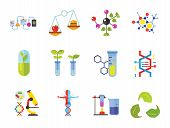 Biology Icon Set. Cell Structure Flask Test Tube Products On Scales Heating Test Tube Human Genome M poster