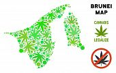 Royalty Free Marijuana Brunei Map Collage Of Weed Leaves. Concept For Narcotic Addiction Campaign Ag poster