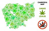 Royalty Free Cannabis Cambodia Map Composition Of Weed Leaves. Template For Narcotic Addiction Campa poster