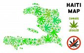 Royalty Free Marijuana Haiti Map Mosaic Of Weed Leaves. Template For Narcotic Addiction Campaign Aga poster