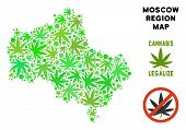 Royalty Free Cannabis Moscow Oblast Map Mosaic Of Weed Leaves. Concept For Narcotic Addiction Campai poster
