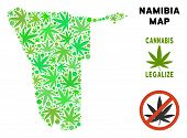 Royalty Free Cannabis Namibia Map Mosaic Of Weed Leaves. Template For Narcotic Addiction Campaign Ag poster