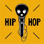 Rap Illustration With Black Head. Hip-hop Party Poster With Microphone And Skull. Vector Sign. poster