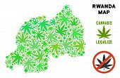 Royalty Free Cannabis Rwanda Map Mosaic Of Weed Leaves. Concept For Narcotic Addiction Campaign Agai poster