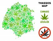 Royalty Free Marijuana Thassos Greek Island Map Collage Of Weed Leaves. Concept For Narcotic Addicti poster