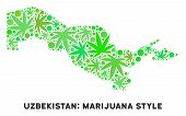 Royalty Free Cannabis Uzbekistan Map Mosaic Of Weed Leaves. Concept For Narcotic Addiction Campaign  poster