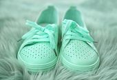 Stylish Mint Sneakers On Fuzzy Rug, Closeup poster