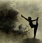 stock photo of yoga silhouette  - Silhouette Yoga Art Background on Canvas Background - JPG