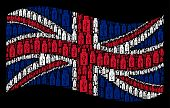 Waving British Official Flag On A Black Background. Vector Usb Flash Drive Items Are Scattered Into  poster