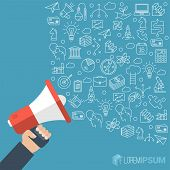Flat Design Loudspeaker With Speech Bubble. Megaphone Promotion And Propaganda Abstract Vector Templ poster