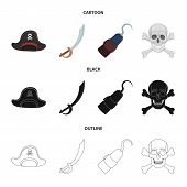 Pirate, Bandit, Cap, Hook .pirates Set Collection Icons In Cartoon, Black, Outline Style Vector Symb poster