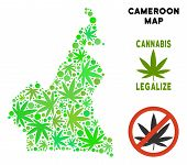 Royalty Free Cannabis African Cameroon Map Mosaic Of Weed Leaves. Concept For Narcotic Addiction Cam poster